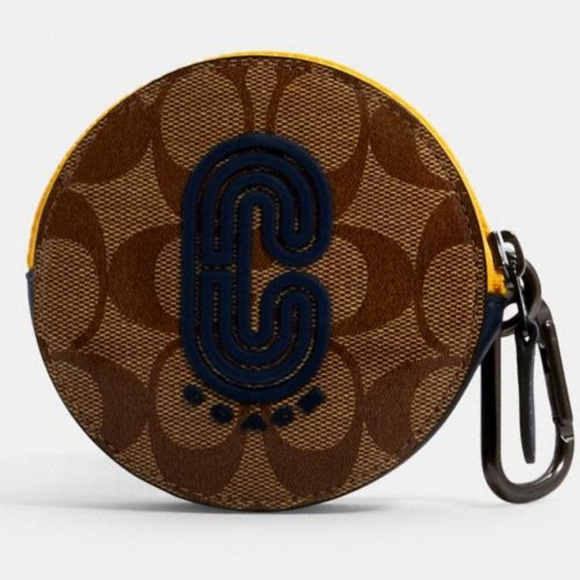 Coach Round Hybrid Pouch In Colorblock Signature